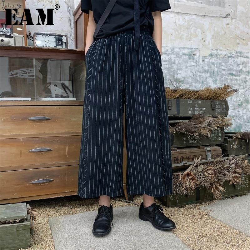 [EAM] 2019 New Spring Summer High Elastic Waist Black Striped Stitch Loose   Wide     Leg     Pants   Women Trousers Fashion Tide JS302