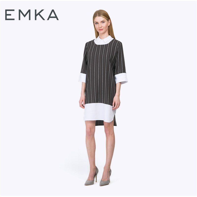 Dress straight striped blouses knitted striped mini dress