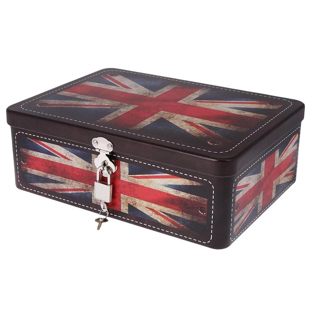 Multi-Colors Locked Storage Box coin Box Container British Flag