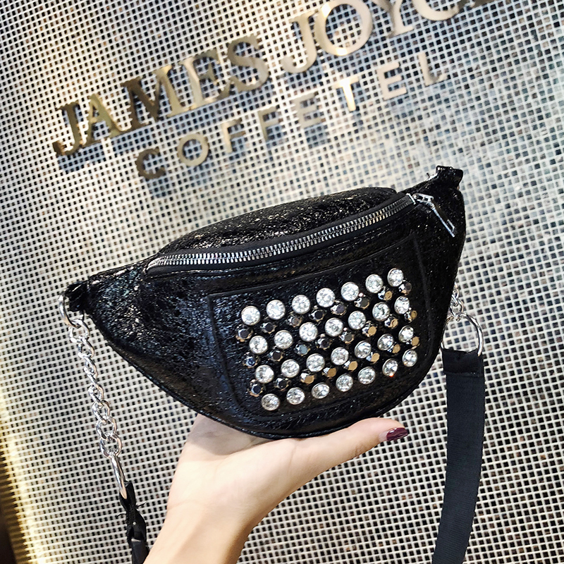 Ladies Fashion Fanny Pack Bag For Women Pu Leather Female Small Waist Packs Bag Girls Rivet Belt Bags Funny Fannypack Bags