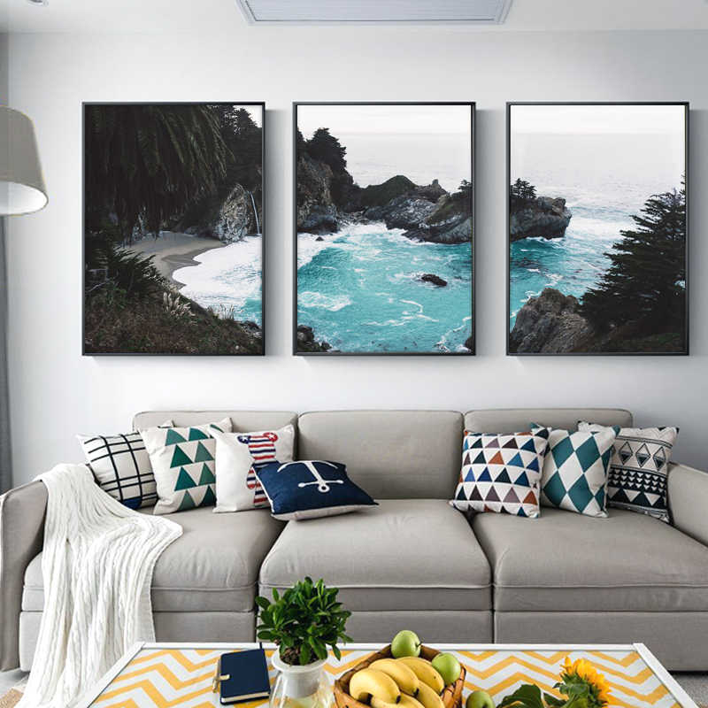 Scandinavian Coastal Landscape Posters Modern Prints Sea Beach Wall Art Canvas Painting Nordic Living Room Decoration Pictures