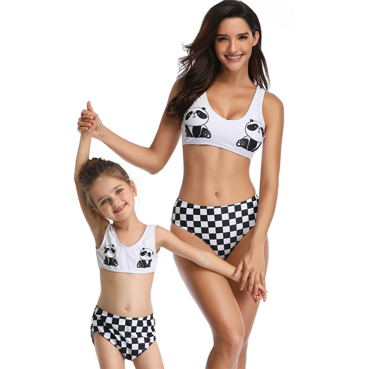 2019 Nieuwste Hot Familie Bijpassende Badmode Moeder Dochter Leuke Panda Gedrukt Plaid Bikini Badpak Beachwear Monokini