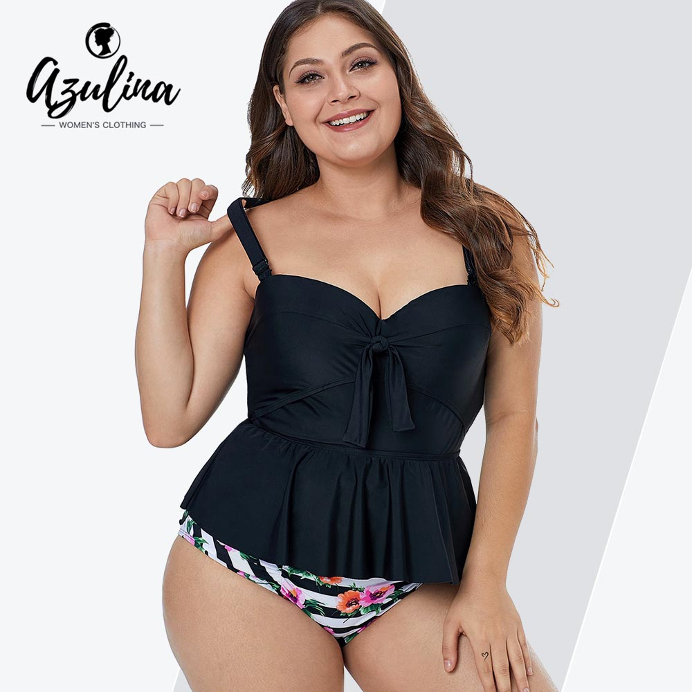 Rosegal Plus Size Women Sets Bowknot Detail Floral Print Tankini Set Playsuits Two Pieces Sets Swimwear High Waisted Striped Top