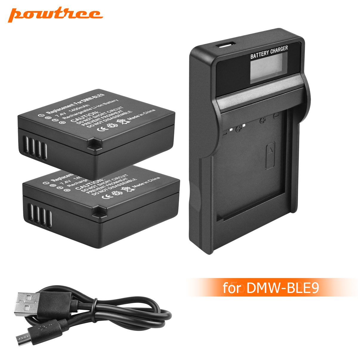 Powtree DMW-BLG10 DMW BLG10 DMW-BLE9 Battery+LCD Charger For Panasonic DMC GF6 GX7 GF3 GF5 DMW-BLG10GK LX100 GX80 GX85 L10