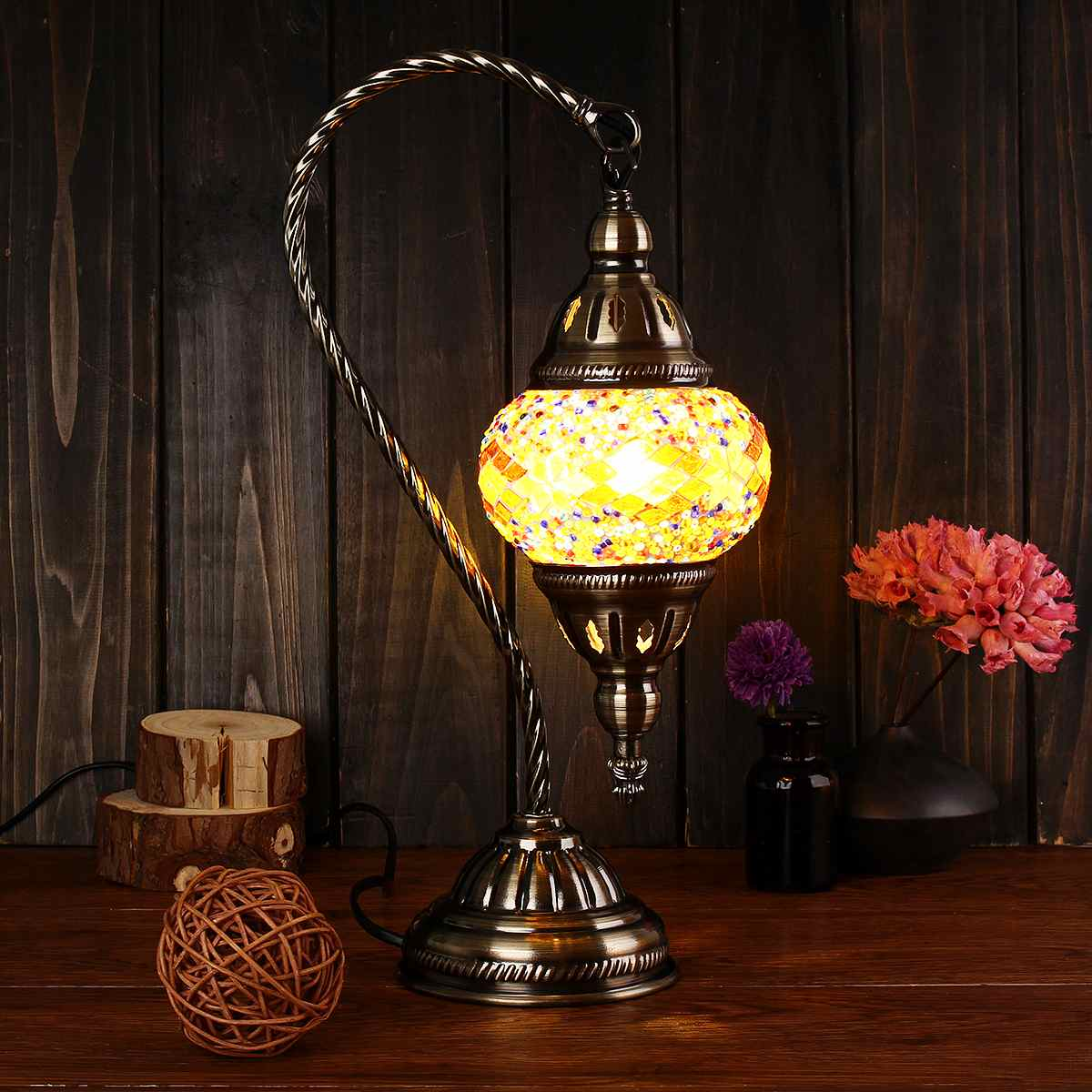 US $47.52 28% OFF|Hand inlaid Glass Table Lamps Turkish Light Decorative  for Bedroom Living Room Desk Light Morocco Style Gift E14 Vintage-in Table  ...
