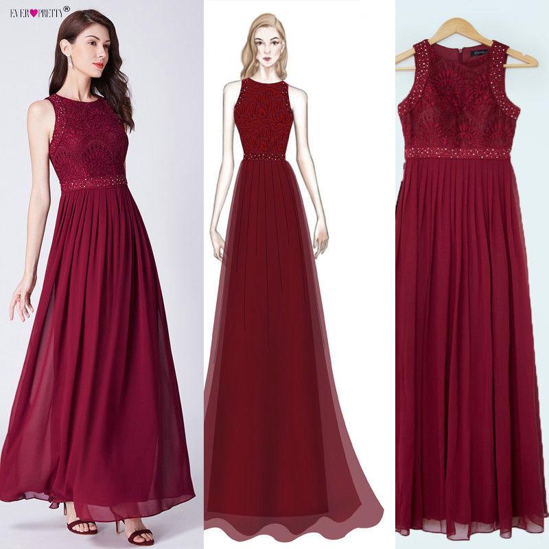 Burgundy   Bridesmaid     Dresses   2018 Ever Pretty EZ07391 Long Lace Appliques A-line Sleeveless Wedding Guest   Dress   Vestidos De Gasa