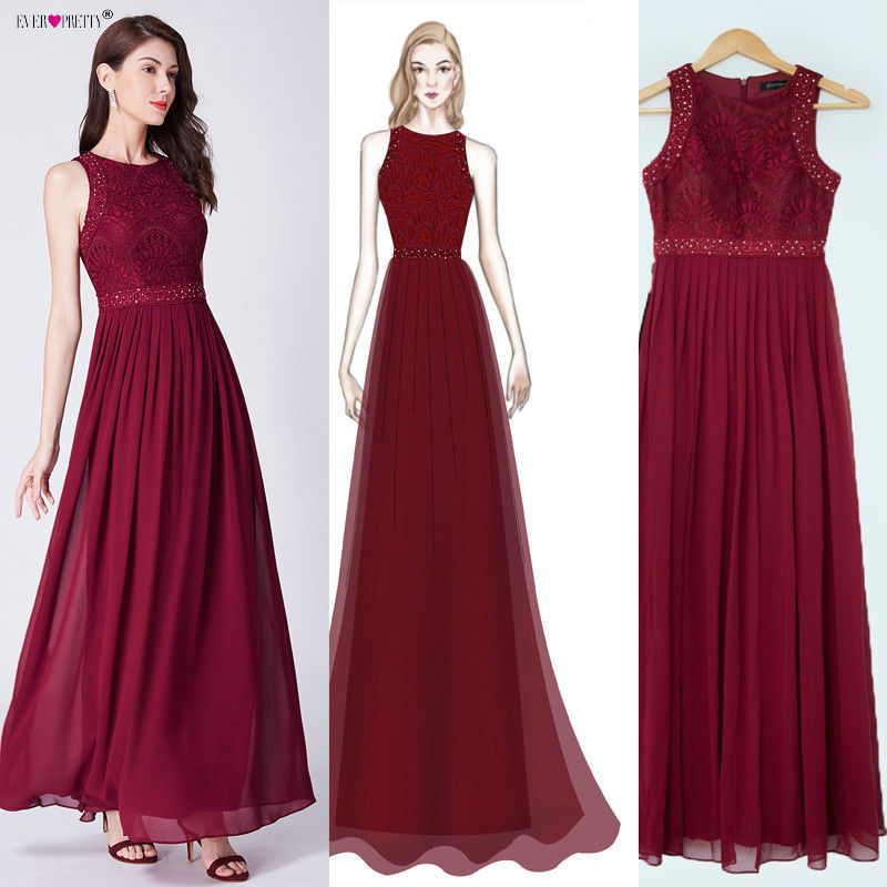 Burgundy   Bridesmaid     Dresses   2019 Ever Pretty EZ07391 Long Lace Appliques A-line Sleeveless Wedding Guest   Dress   Vestidos De Gasa
