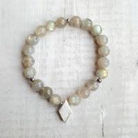 Lii Ji Aurora Natural Labradorite Hematite 925 Sterling Silver Charm Bracelet Delicate Jewelry