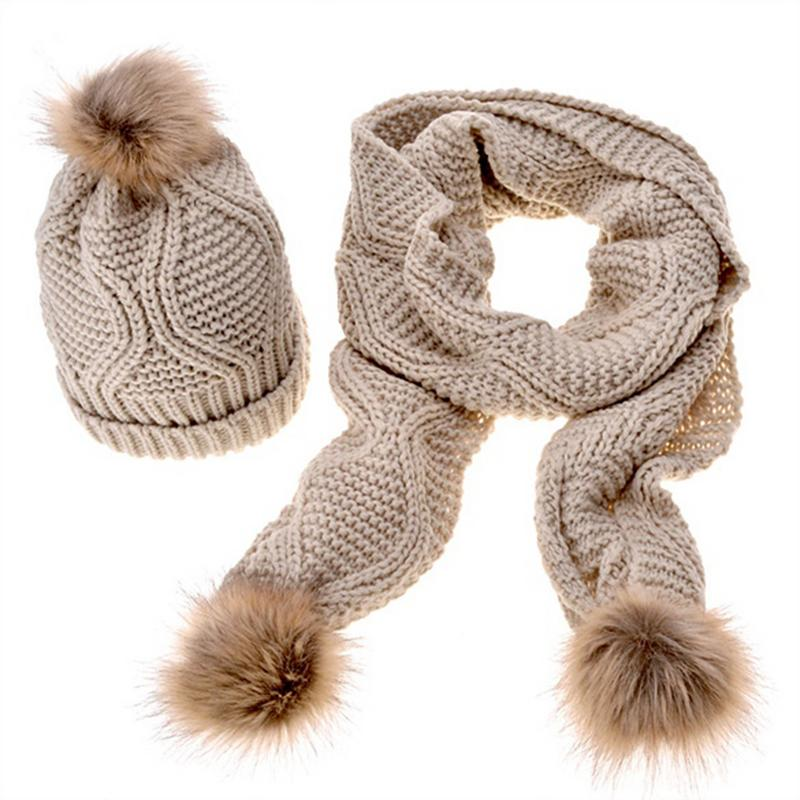 Women Knitted Scarf And Hat Set Luxury Winter Warm Hats And Scarves With Real Fur Pom Beanie Hat For Girls