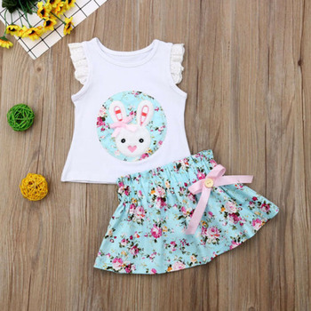 Summer Easter Toddler Kids Infant Baby Girl Floral Ruffle Bunny Tops+Tutu Flower Skirt Outfit Clothes Set 1