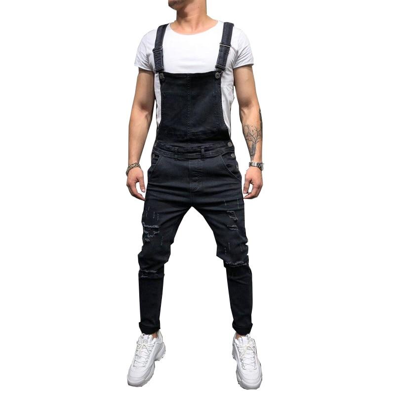 Fashion Men's Ripped Jeans Jumpsuits Hi Street Distressed Denim Bib Overalls For Man Suspender Pants Size S-XXXL(China)