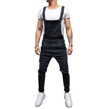 Fashion Men's Ripped Jeans Jumpsuits Hi Street Distressed Denim Bib Overalls For Man Suspender Pants Size S-XXXL 1