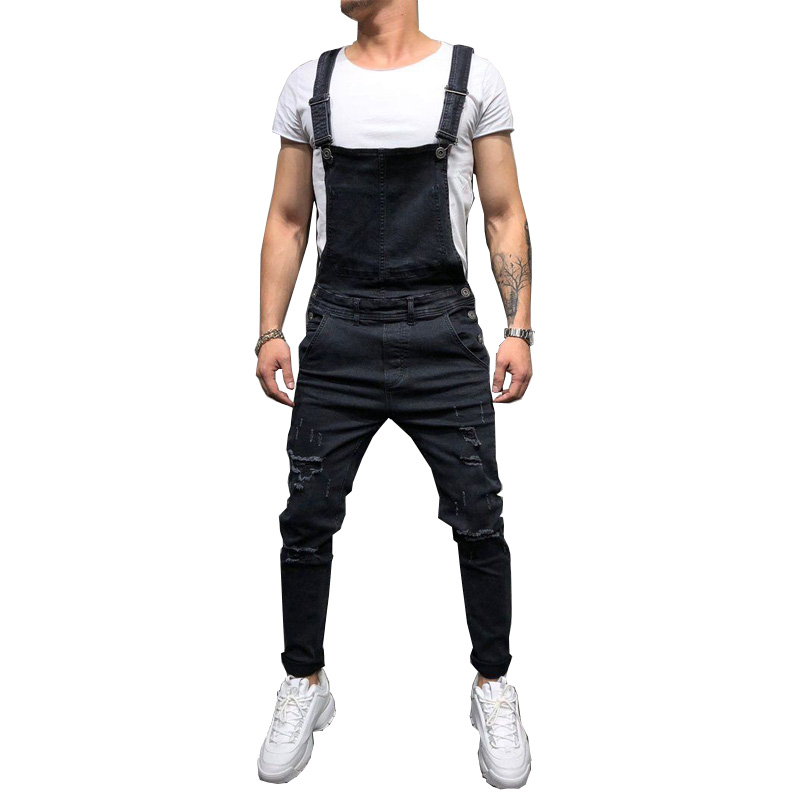 Fashion Men's Ripped Jeans Jumpsuits Hi Street Distressed Denim Bib Overalls For Man Suspender Pants Size S-XXXL