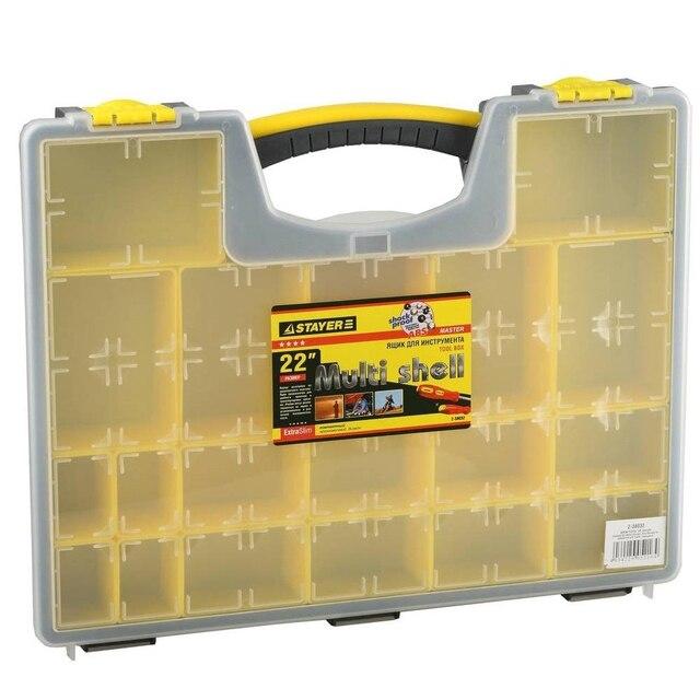 Ящик для инструмента STAYER 2-38032 (19 отделений, размер  420х330х50 мм, ручка для переноса, органайзер для принадлежностей, изменение размеров отделений)