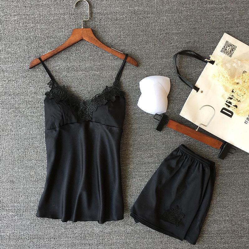 2 Pcs Frauen Damen Sexy Satin Spitze Nachtwäsche Babydoll Dessous Nachthemd Pyjamas Set Schwarz Blau Rosa Rot Silber Nachthemd & Bademantel-sets Damen-nachtwäsche