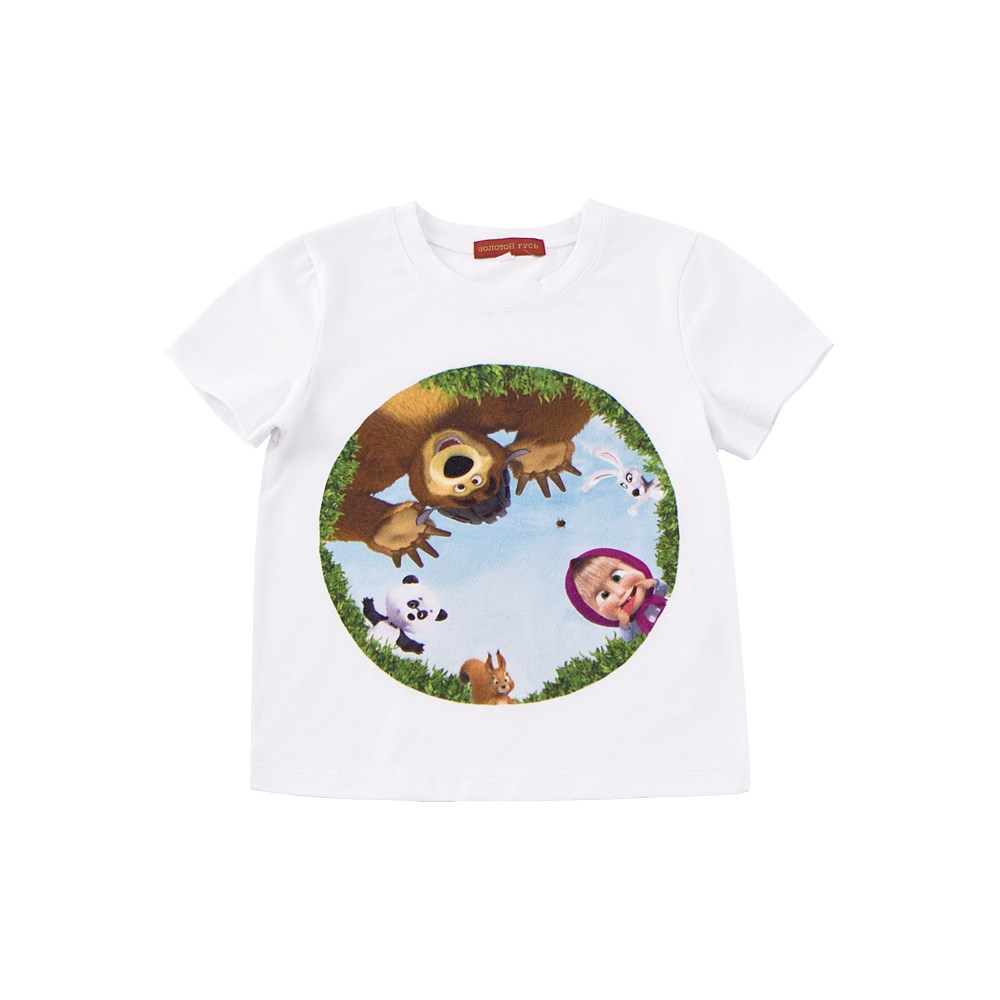 Masha and the Bear Shirt T-shirt white M No. v neck flower and bird print plus size short sleeve men s t shirt