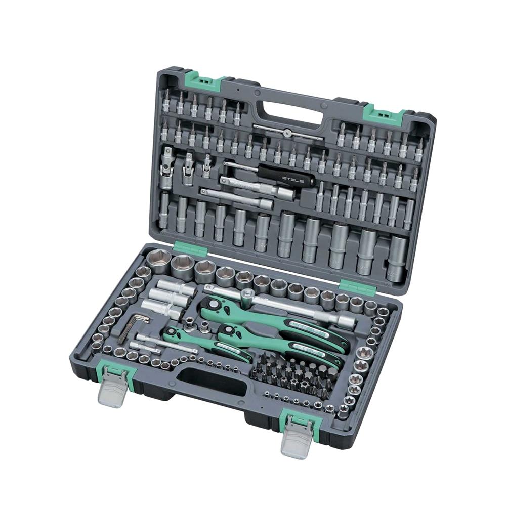 Hand Tool Sets STELS 1/4, 3/8, 1/2, Cr-V, S2, enhanced case, 151 items 14114 цена