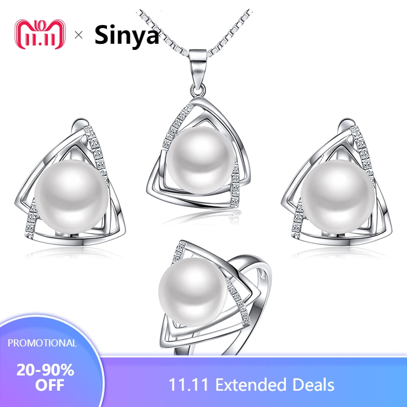 925 sterling silver pearl jewelry set include natural freshwater pearls necklace ring earring fine jewelry sets Sinya tz09044 real freshwater pearl jewelry set women trendy anniversary 925 sterling silver ring jewelry necklace earring sets
