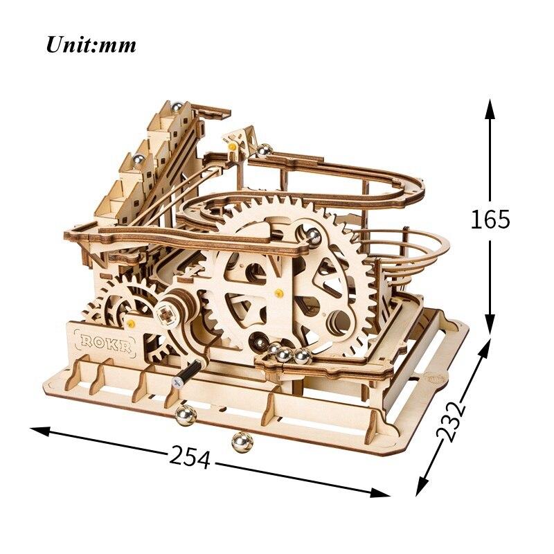 Robotime Drôle Marble Run Jeu bricolage Roue Hydraulique Coaster modèle en bois Kits de Construction jouet assemblage Meilleur De Noël, cadeau d'anniversaire - 5