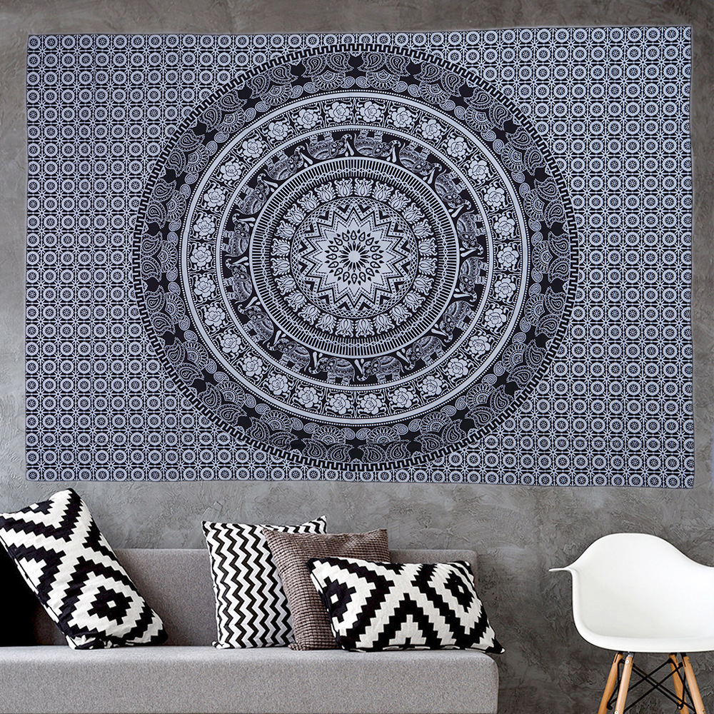 Boho Decor Tapestry Macrame Wall Hanging Psychedelic Hippie Wall Tapestry Mandala Witchcraft Wall Cloth Tapestries Beach Throw in Tapestry from Home Garden