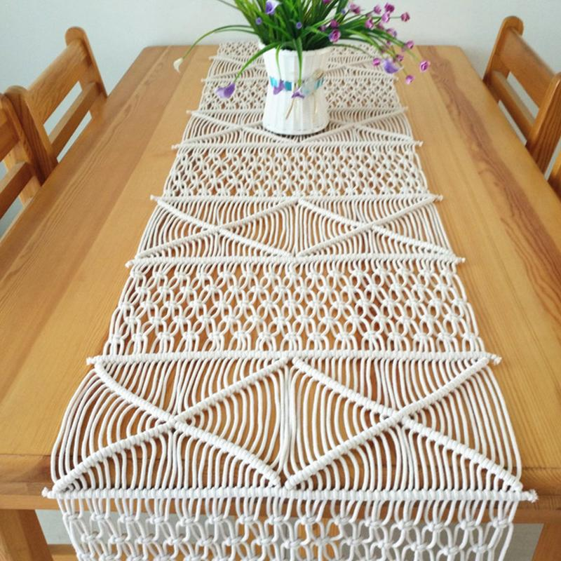 Hand-woven Macrame Table Runner Boho Wedding Table Cloth Decoration Bedding Blanket