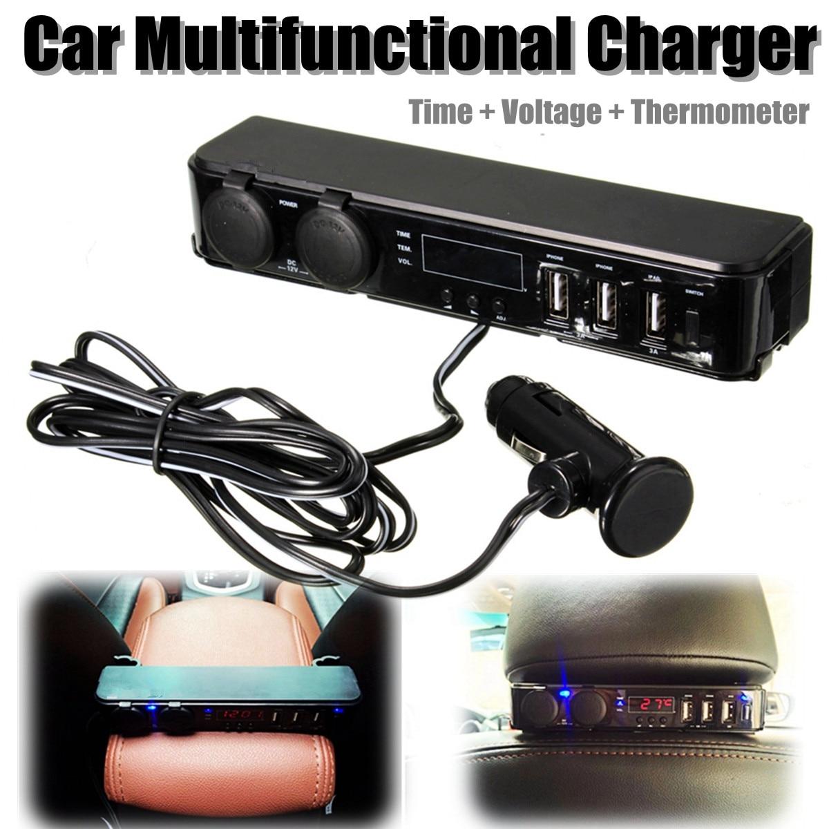 12V Car Cigarette Lighter Socket With LED 12V Socket USB Adapter Charger w/