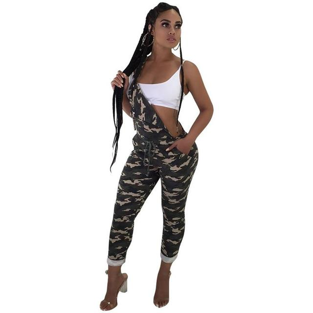 1b59e639b4a Plus Size Rompers Women Jumpsuit Oversize Overalls Camouflage Sleeveless  Pockets Wide Leg Pants Casual Dungarees Playsuit