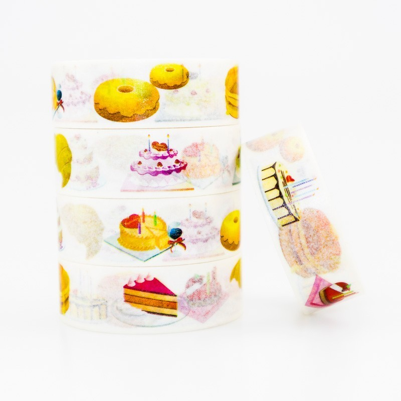Japanese Delicious Cake Washi Masking Tape Sticky Color Decorative Tape Set DIY Decoration Office Stationery Scrapbook 1PCS