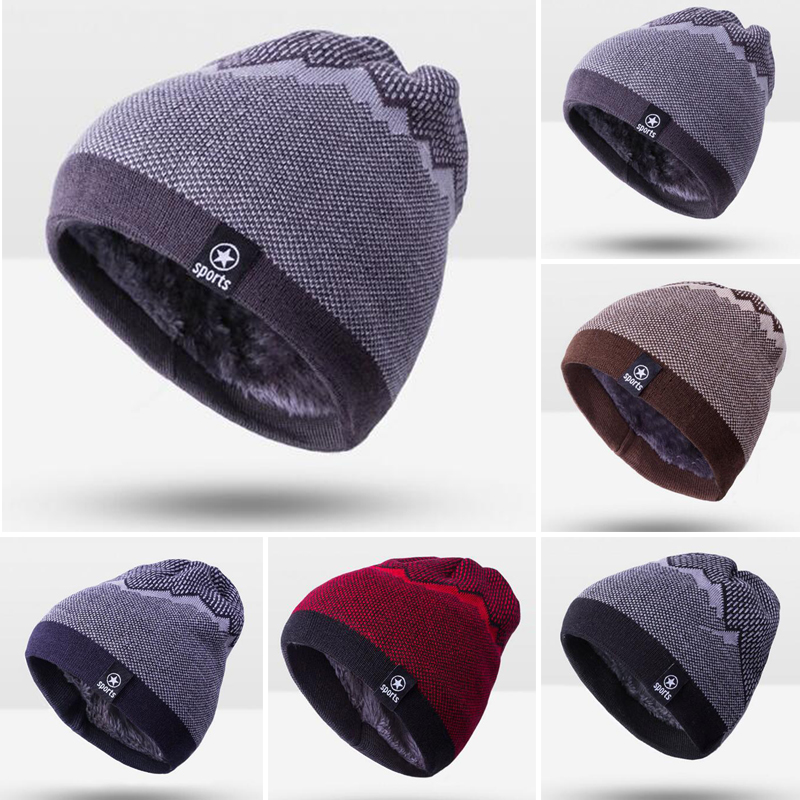 Autumn Winter New Men Letter Mark Plus Knitted Hat   Skullies  &  Beanies   Outdoor Sports Cashmere Warm Wool   Beanies   Cap Drop Shipping