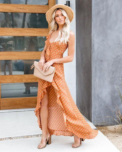 2019 Summer New Sexy Split Ruffled Sling Black Wave Dress Kylie jenner Spaghetti Strap Dress Vestiti Donna Eleganti Orange Dress 2