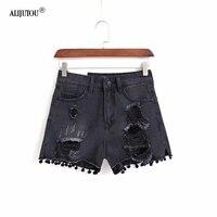 Womens Sexy High Waist Tassel Ripped Jeans zaraing 2019 summer wind female black Hairball burr hole denim shorts high quality