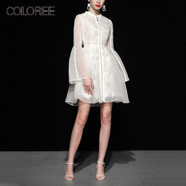 Haut de gamme blanc Organza dentelle broderie Mini robe 2019 printemps européen élégant Flare manches dames bureau robe travail porter