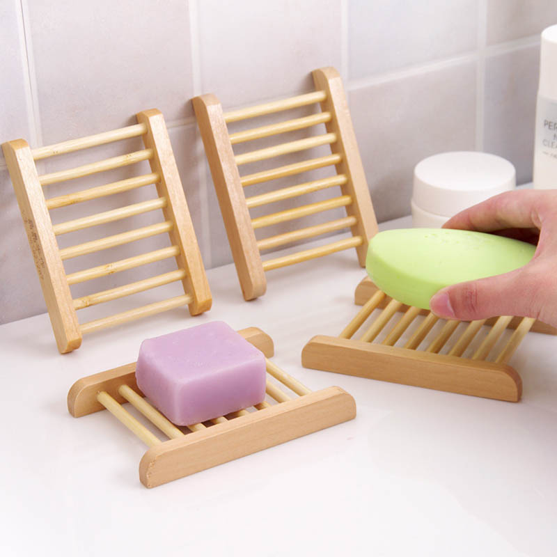 Durable Soap Dish 1PC Bath Shower Plate Natural Wood Soap Tray Holder Bathroom Accessories Portable Home Storage Organizer