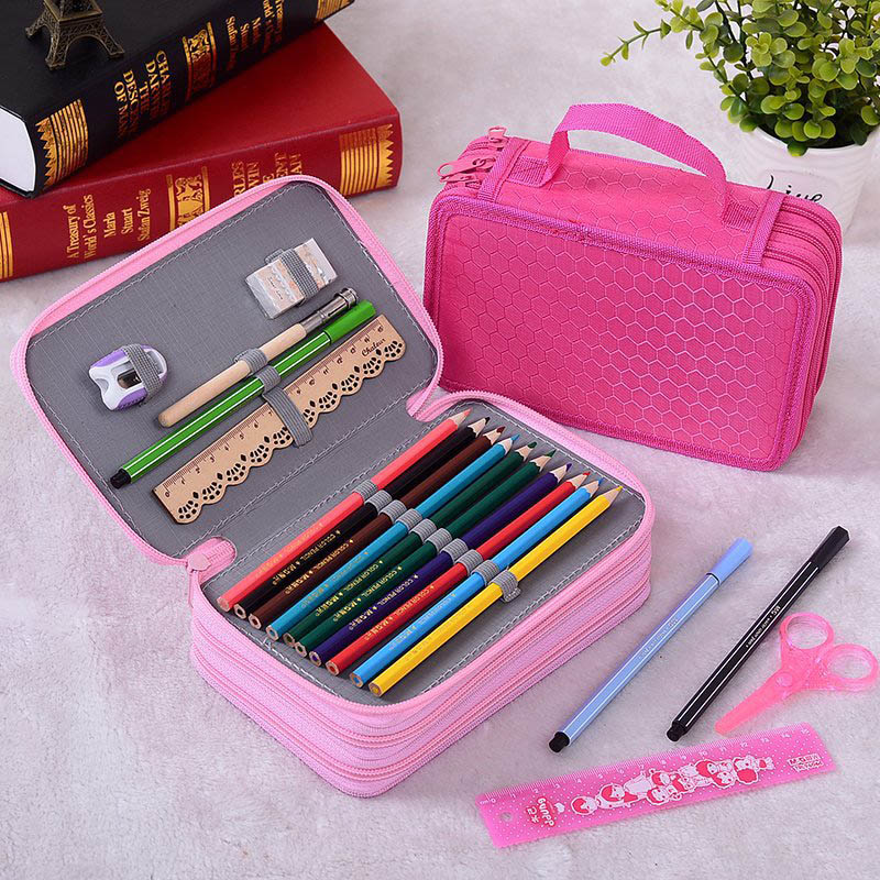 3 Layers High Capacity Pencil Bag 55-Hole Fabric Stationery Storage Bags Pen Box For Kids Student School Art Supplies Stationery