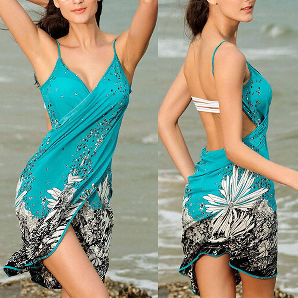 2019 <font><b>Sexy</b></font> Beach Dress Green Beach Tunic Floral Cover Up <font><b>Bikini</b></font> Swimsuit Dress Swimwear Tunic Swim Lady Bath Suit Cover Up Dress image