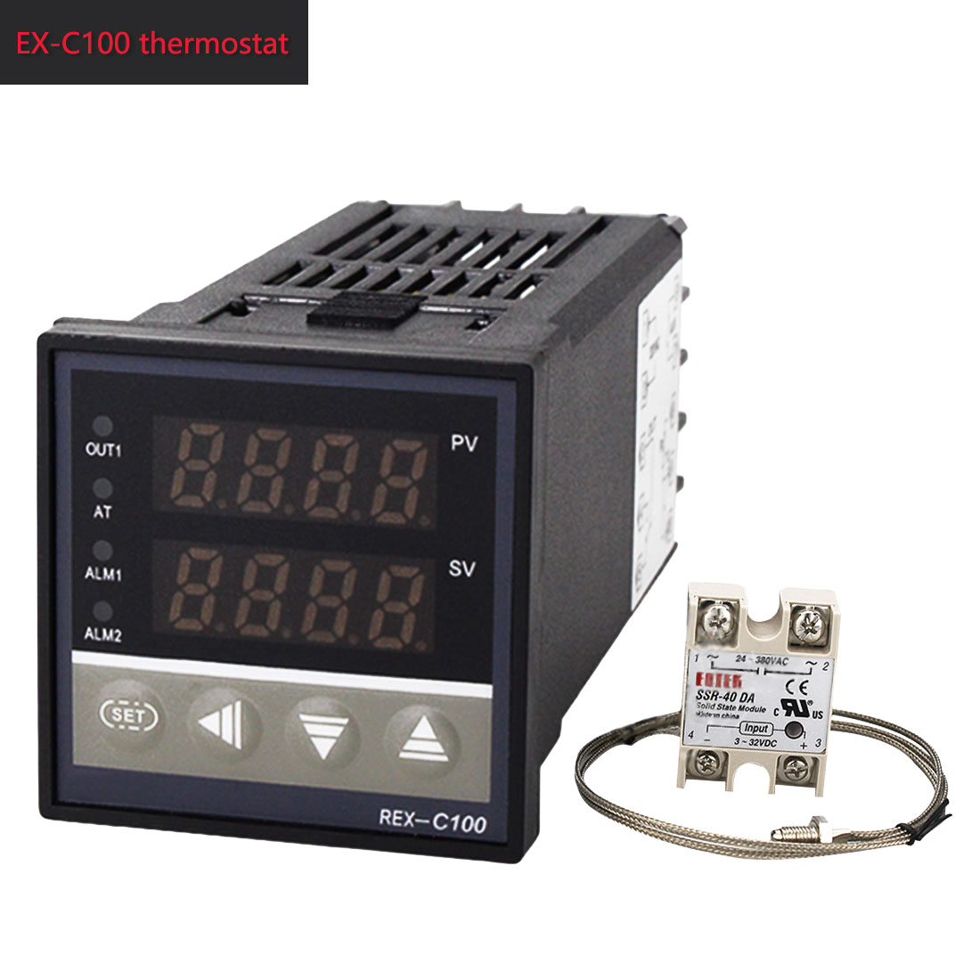 1pc Digital LCD PID Temperature Controller 220V + Max 40A SSR + K  Thermocouple PID Controller Set REX-C100