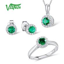 VISTOSO Jewelry Sets For Woman Green Crystal Stones Jewelry Set Earrings Pendant Ring 925 Sterling Silver Fashion Fine Jewelry(China)