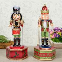 32CM Wood Nutcracker Walnut Soldier Music Box Christmas Gift Hand Painting Doll Great Decoration for Office Home Ornaments