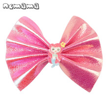 ncmama 4 Inch Hair Bows for Girls Soft Leather Unicorn Clip Kawaii Mermaid Hairgrips Barrettes Kids Accessories