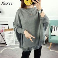 2019 Women Pullovers And Sweaters Loose Tassel Soft Shawl Poncho Women Slash Neck Bat Long Sleeve Pullover Sweater Shawl