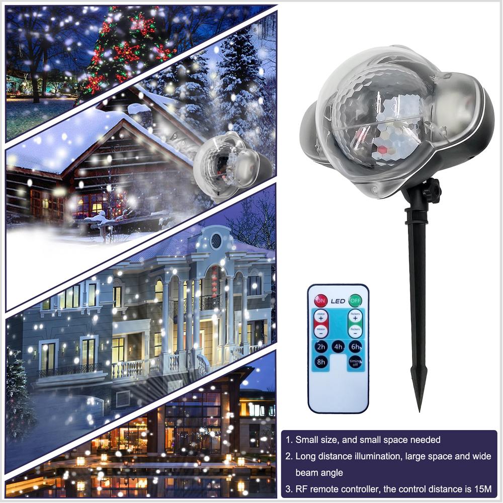 Access Control Security & Protection Led Mini Night Light Snow Projector Lawn Greensward Light Waterproof Outdoor Party Snow Scene Stage Garden Light Remote Control Soft And Antislippery
