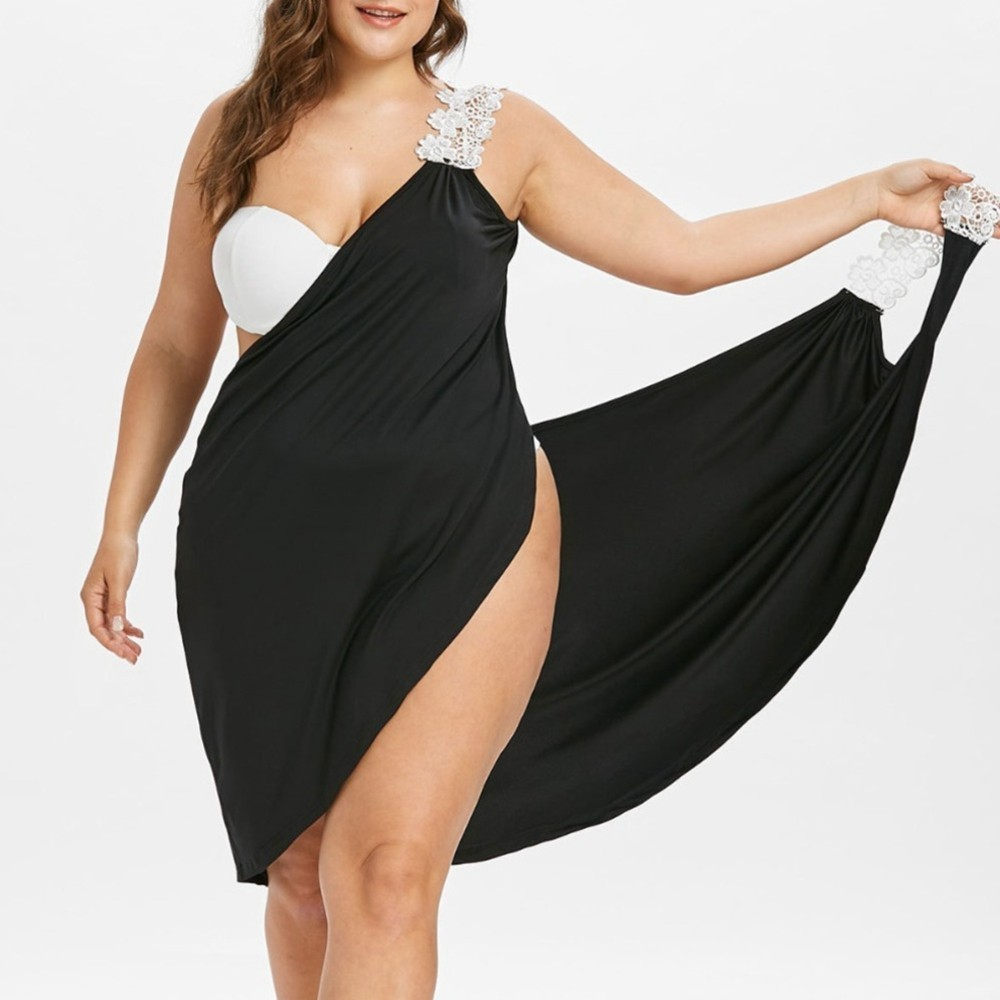 L-5XL Plus Size Women Beach Dress Solid Beach Cover Up Lace Up Beachwear Large Size Swimsuit Women Beach Robe Sexy Bikini Covers