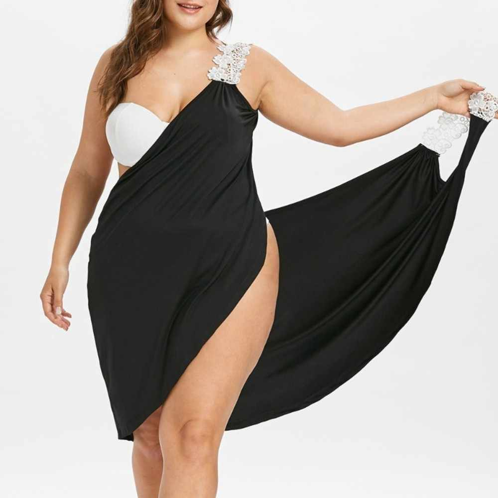 321bf3e4336ac L-5XL Plus Size Women Beach Dress Solid Beach Cover Up Lace Up Beachwear  Large