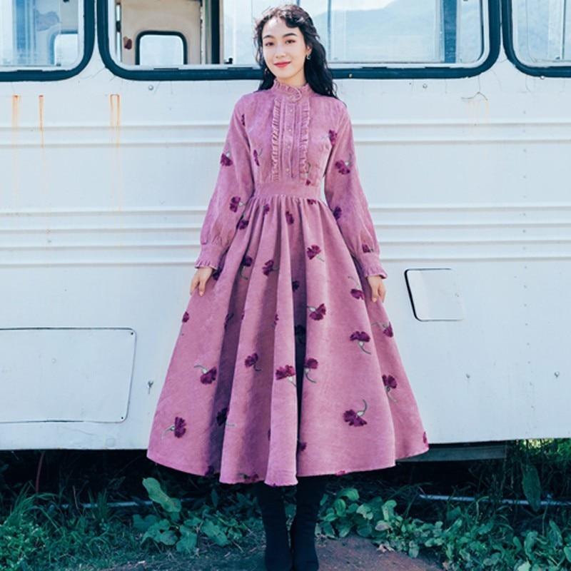 Robe Robes Swing Photo Trois Vintage Broderie Printemps Dimensions Big En Fleur Adorable Femme Color Montant Velours 2019 Col De Mode ZiuOkTwPX