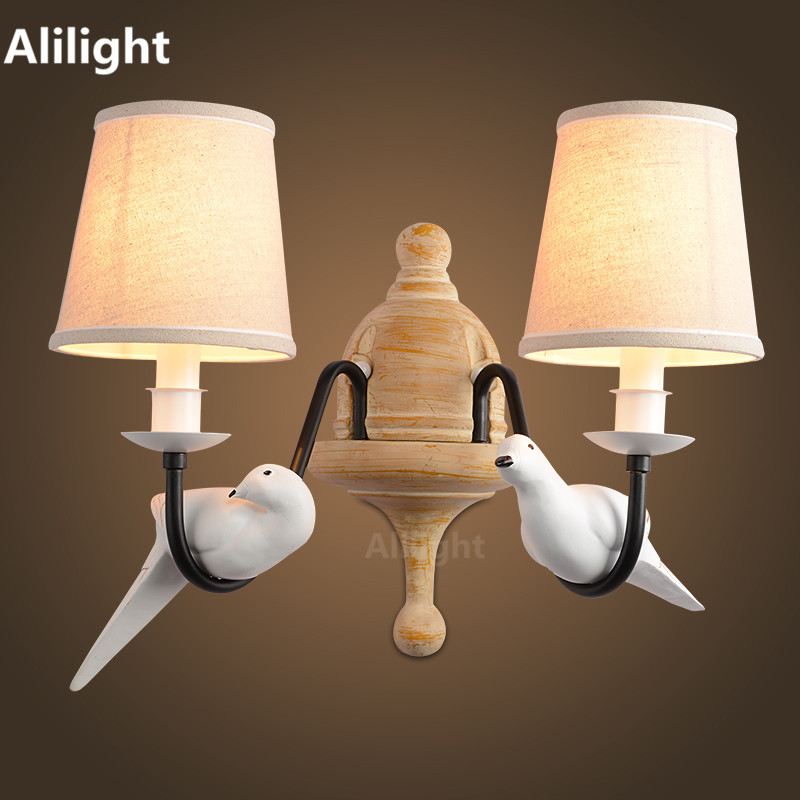 Retro Vintage Wall Lamp 2 Light Birds Wall Light Resin Material Metal Painting Fabric Shade Sconces for Bedroom Home Fixtures