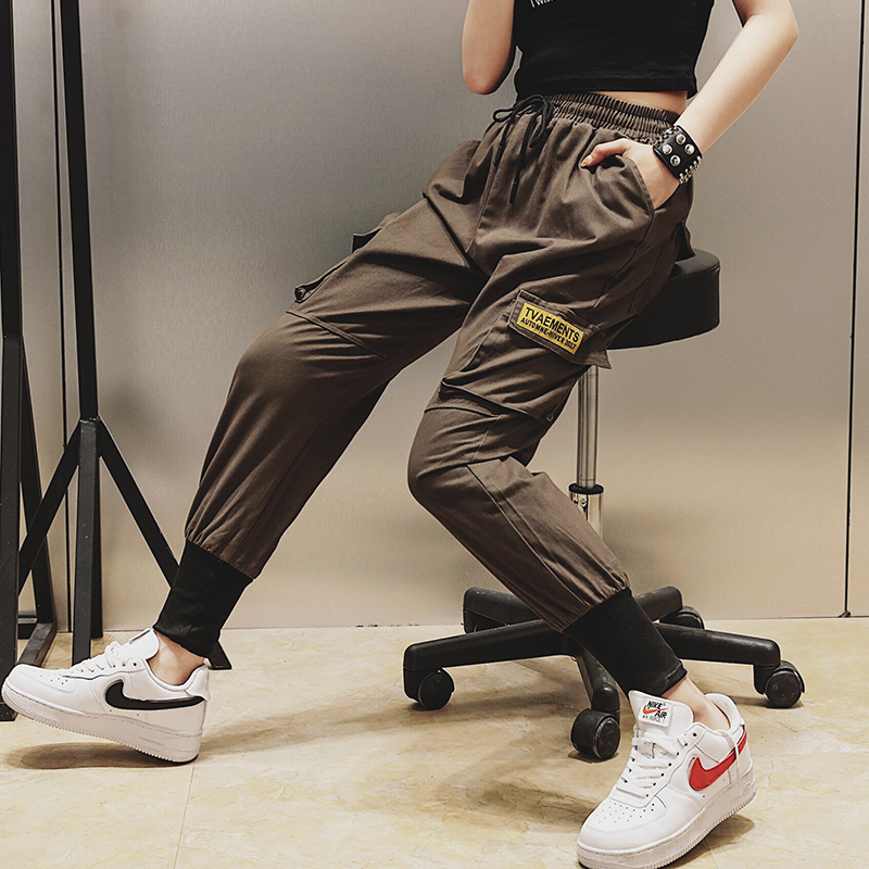 Qiukichonson Hip Hop Joggers Women 2019 Spring Big Pockets High Waist Loose Fashion Cargo Pants Women Black Harem Pants