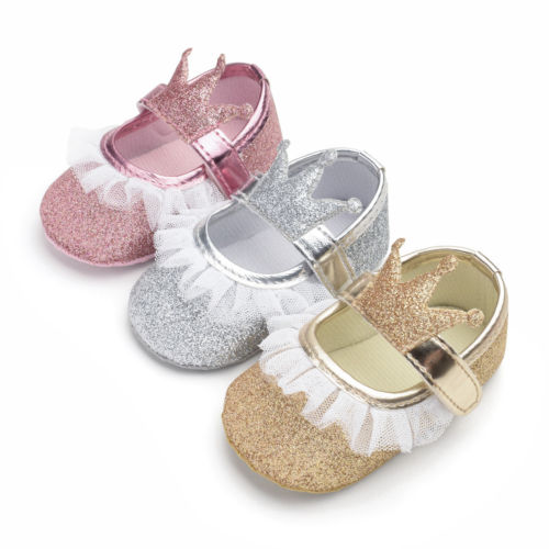 Toddler Baby Girls Princess Crown Sequin Lace PU Crib Soft Sole Shoes Newborn Prewalker Soft Sole  Anti-slip First Walkers 0-18M