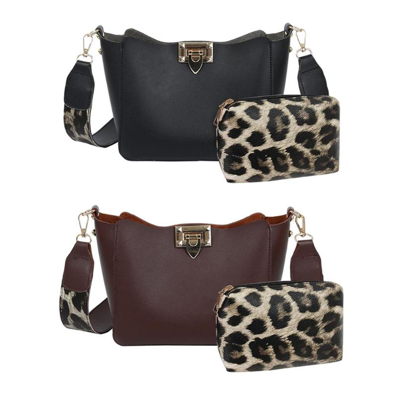2Pcs/Set Women Leopard Shoulder Messenger Handbags Large Capacity Leather Totes With Ladies Clutch PU Leather Shopping Totes