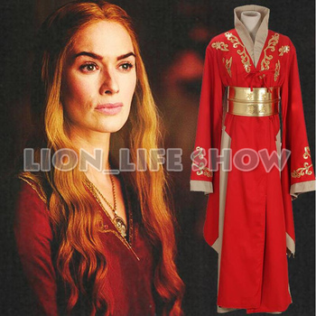 Game of Thrones Queen Cersei Lannister Red Luxury Dress Cosplay Costumes Halloween Custom made customzied