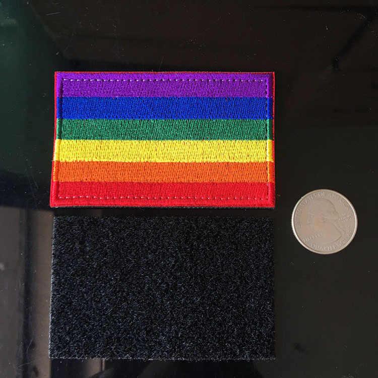 PGY גאווה תיקון בגדי רקמת ברזל על קשת וו & לולאה Jacket תיקוני Applique זרוע תג פס על בגדי דקור